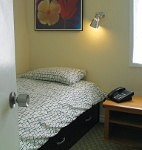 Two twin beds, TV, telephone, a small desk and free Wi-Fi.